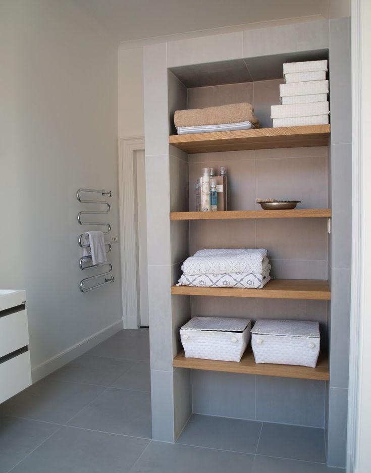 Open shelves laundry bathroom remodel inspiration - Radiator badezimmer ...