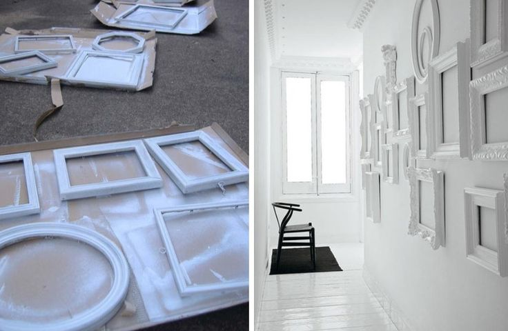Going for white is a classic option which will add crisp & sculptural edge to any room. The DIY process is really straightforward: 1.) wash dirt & grease from frames 2.) use a white base coat paint 3.) Finish off with paint in your favorite color…I found some pics over at NaturalHome to inspire DIY action! The pic of a finished hallway project was spotted over at TheDecorologist