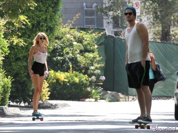 Miley Cyrus Red Bra Tank Legs Booty Shorts Liam Hemsworth Skateboarding