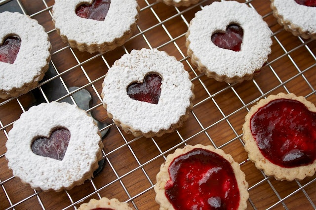 pecan linzer heart cookies with black cherry filling... im gonna try ...