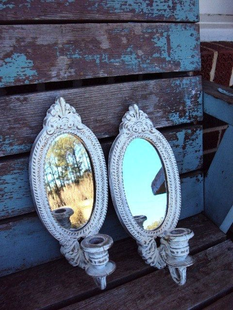 Vintage shabby chic candle holder sconce set mirror wall for Bougeoir shabby chic