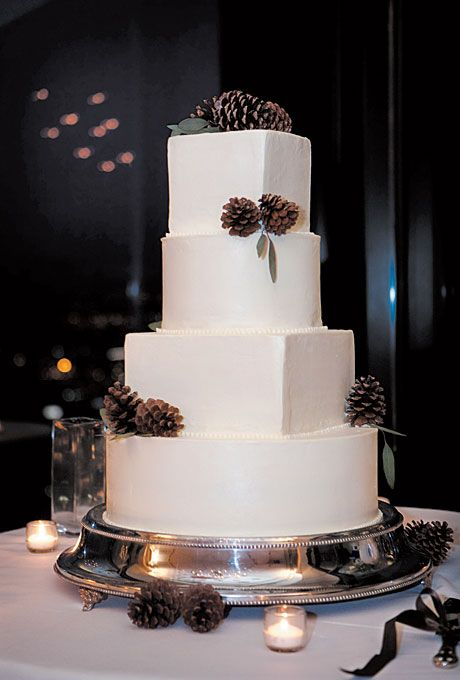 White Wedding Cake with Pine Cones