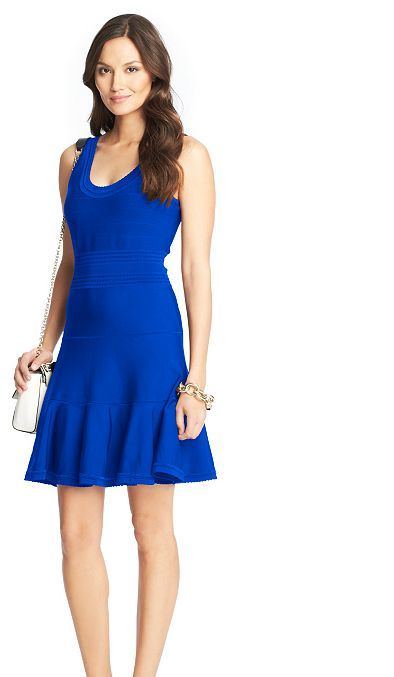 Dvf Perry Structured Flare Dress Perry Structured Knit Flared