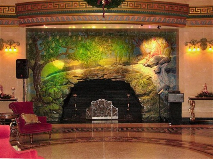 Mural fireplace unique fireplaces in outdoor pinterest for Mural unique