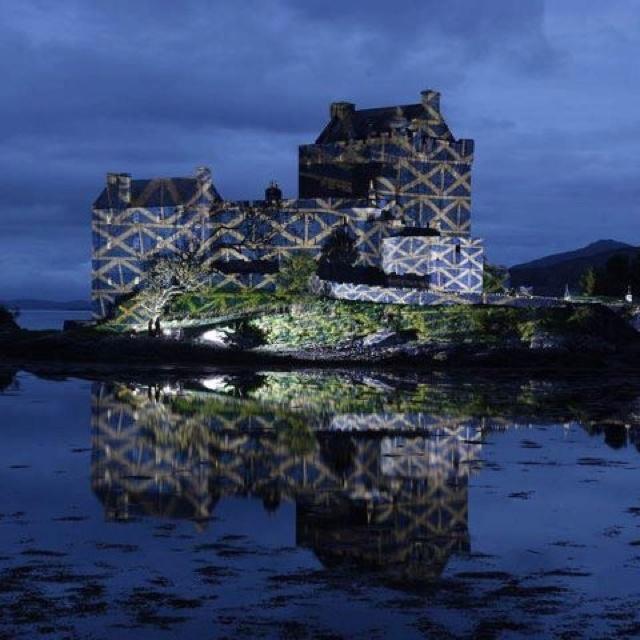 The Scottish Flag lighting up Eileen Donan Castle