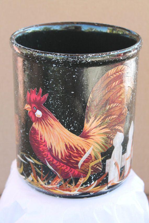 Rooster utensil holder kitchen decor country kitchen country hom - Unique kitchen utensil holder ...
