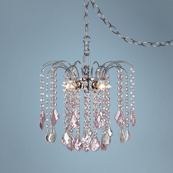 Nicolli Pink Crystal 12 Wide 4 Light Mini Chandelier