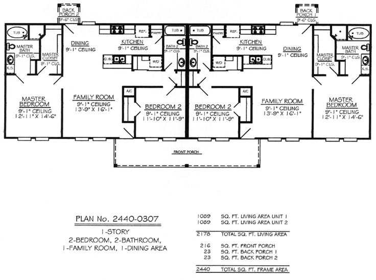 Single story multi family house plans 660 per plan free for Small multi family house plans