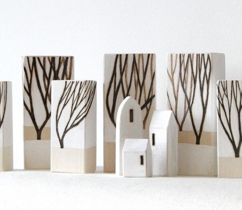 Wood Trees & Houses - etsy