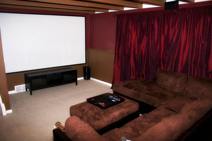Our home theater with a 123 quot screen amp projector amp 7 1 surround sound