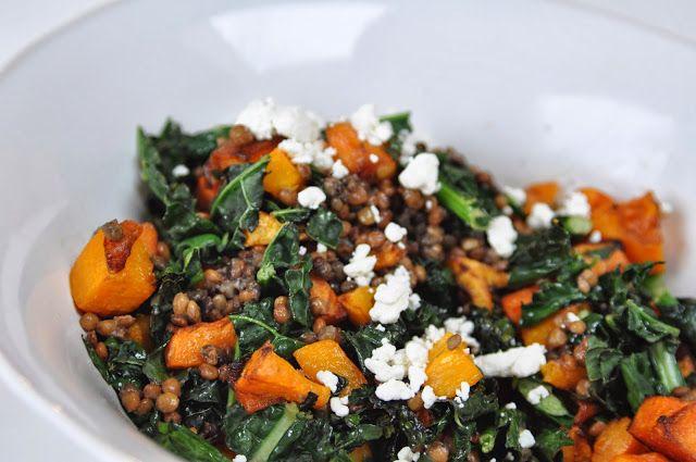 Warm Butternut Squash, Kale & Lentil Salad @Stephanie Close Morain