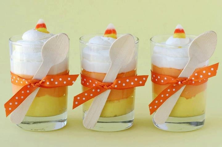 Candy Corn pudding (banana, butterscotch, whipped cream & candy corn)
