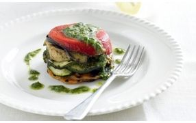 Grilled Tofu and Vegetable Stacks with Lemon Herb Sauce