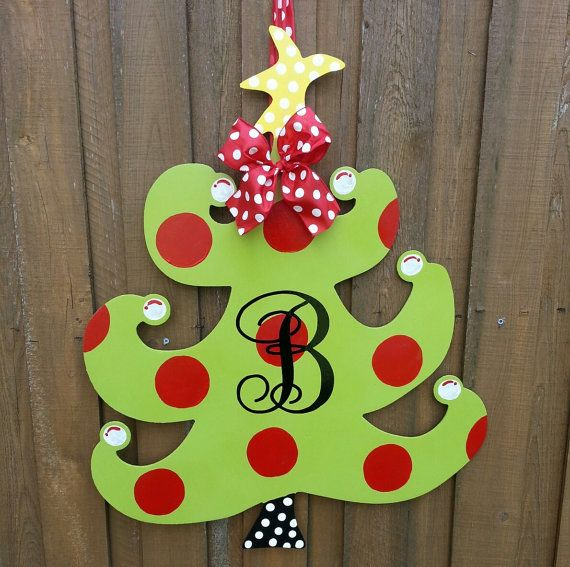 Door Decoration Handpainted Christmas Tree With