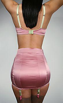 Pink Satin Garter Girdle and Pink Satin Bra Garters
