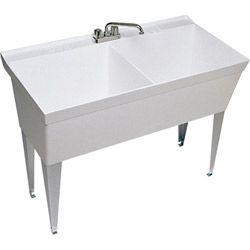 Double Bowl Laundry Sink : 185 Swanstone Laundry Double Bowl Utility Sink MF 2FWH White