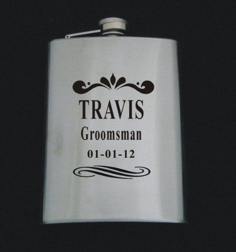 Logo 348 W/ Text Stainless Steel 8 oz Flask Wedding Groomsman Gift ...