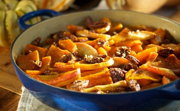 Roasted Butternut Squash and Apples with Maple Glazed Pecans