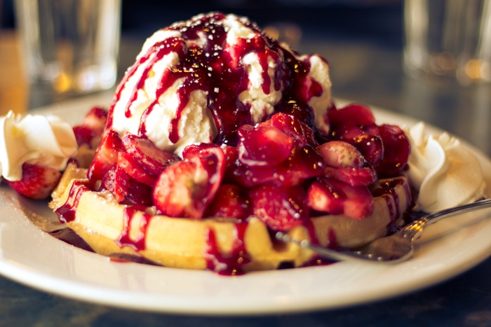 Flaxseed Waffles With Berries And Honey Cream Recipe — Dishmaps