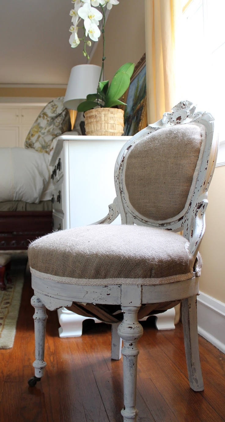 Designing Domesticity: Mostly Shabby, Slightly Chic Chair Makeover - also has instructions for re-webbing and fixing springs!