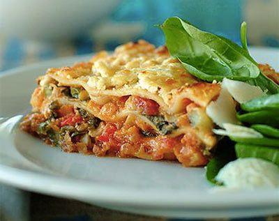Turkey lasagna with spinach. I added zucchini squash, yellow squash ...
