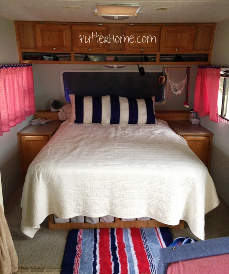 Rv bedroom makeover weekend home pinterest - Trailer bedroom ideas ...