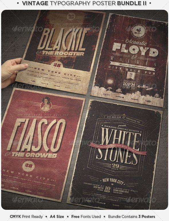Vintage Typography Poster Bundle IIVintage Typography Poster