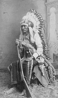 Portrait of Chief Lone Wolf, a  Kiowa, ca. 1890. W.L. Sawyers  Indian Art Gallery, Purcell,  Indian Territory