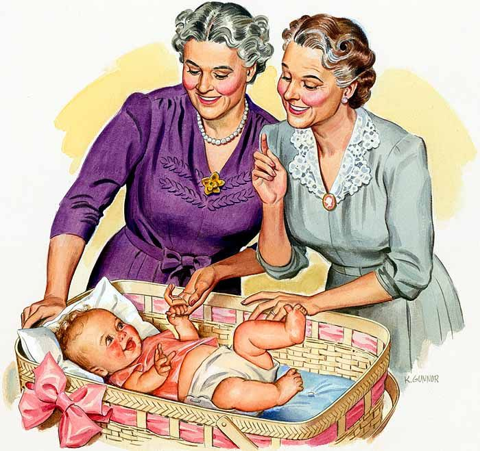 Two lovely grandmothers fawn over their precious grandchild in this heartwarming illustration from 1940. #vintage #1940s #grandma #grandmother #baby #family #domesticity