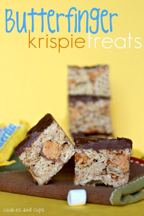 Butterfinger Rice Krispie Treats Recipe — Dishmaps
