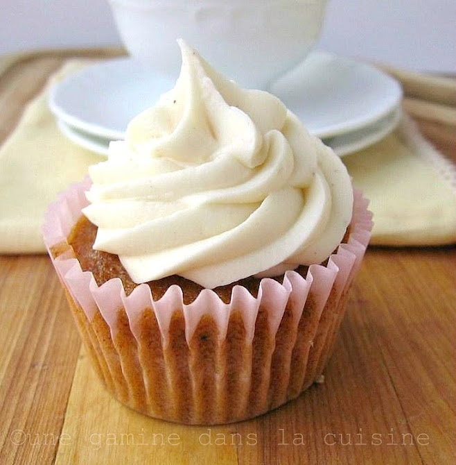 Carrot Cake Cupcakes with Cinnamon-Maple Cream Cheese Frosting