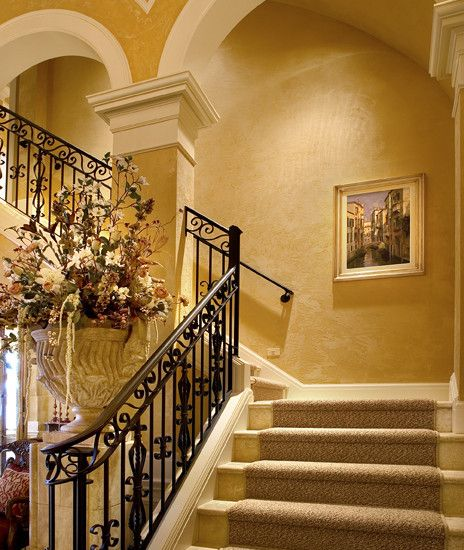Mediterranean staircase ranch style design pictures remodel decor