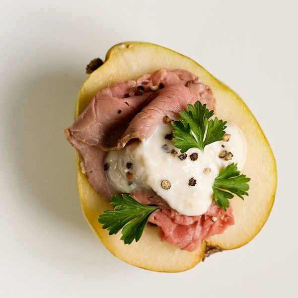 Pears with Roast Beef and Horseradish Cream - Framed Cooks: an odd ...