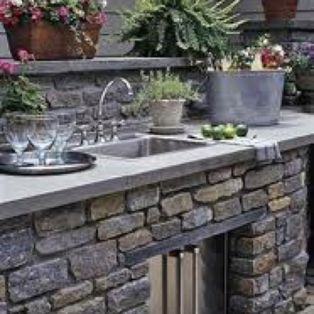 Outdoor Stone Sink : Pretty Outdoor Stone Sink! Outdoor Kitchen Pinterest