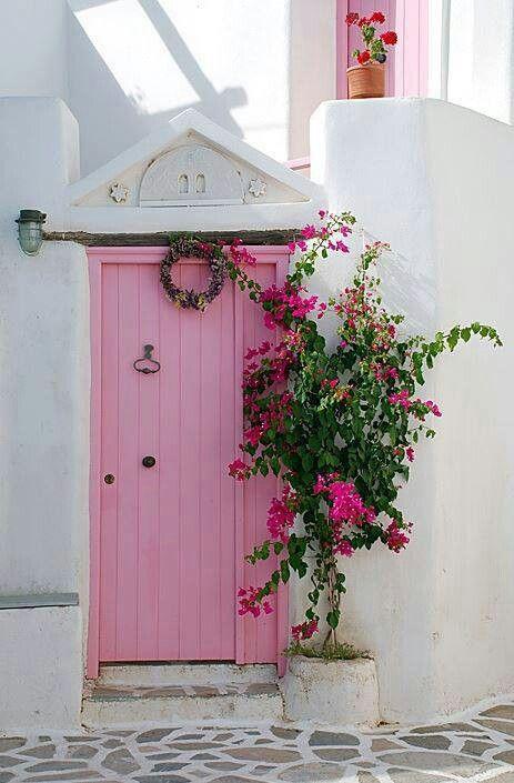 Pink Door Greece Doors Pinterest