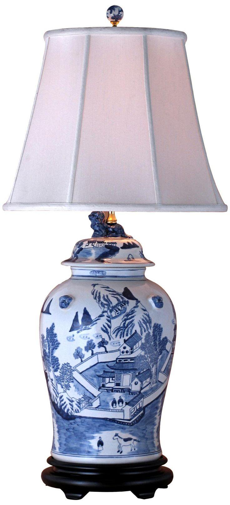 canton blue and white temple jar porcelain table lamp. Black Bedroom Furniture Sets. Home Design Ideas