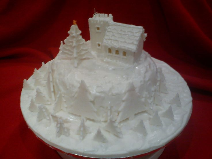 White Christmas Cake With Church My Cakes Pinterest