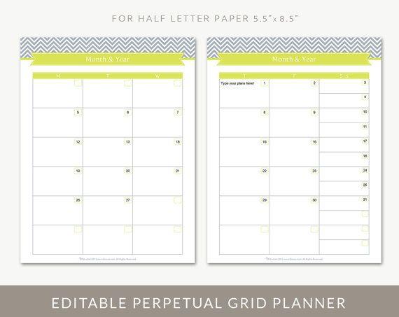 Printable Monthly Calendar Planner Grid, Editable PDF, For Half Letter ...