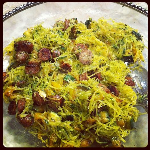 Spaghetti squash with Italian sausage, basil, pine nuts, olive oil and ...