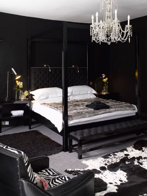 Black Bedroom, white bedding. crystal chandy