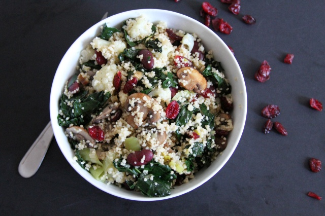 Kale, Cranberries, and Cauliflower Couscous salad. Green, healthy ...