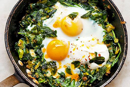 Skillet-Baked Eggs With Spinach, Yogurt, And Spiced Butter Recipes ...