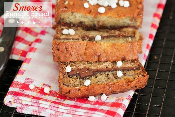 banana bread has marshmallow bits throughout the batter with chocolate ...
