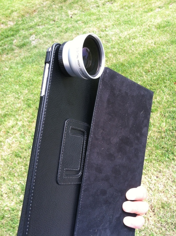 Here's a wide angle lens for my iPad. It allows .45x larger field of view.