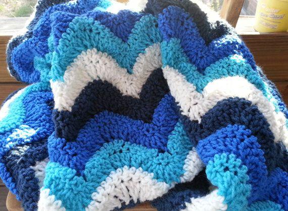 Crochet Ocean Wave : Hand Crochet Afgan/Lap Blanket in Shades of Blue Ocean Wave-Ready to ...