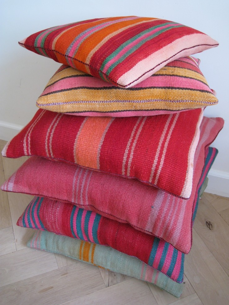 Cushions made from beautiful Moroccan  kilim fabric. Available at http://www.lavieboheme-webshop.nl.