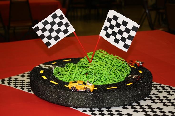 Race car party centerpiece ideas pinterest