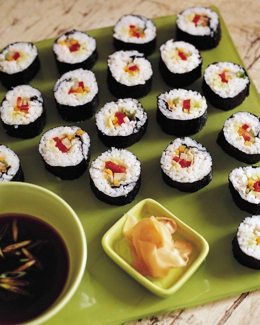Vegetable Sushi -- There's nothing tricky about rolling sushi, but you ...