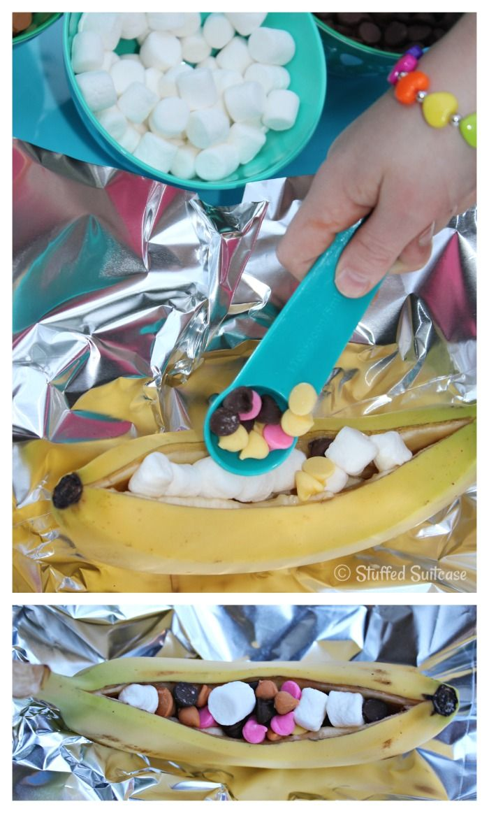 Campfire Banana Splits with Nestle Toll House - Stuffed Suitcase