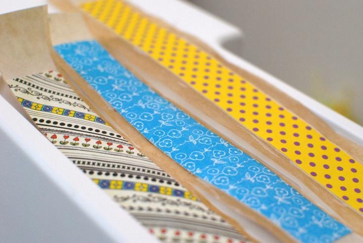 DIY japanese washi tape using masking tape, modpodge and scrapbooking paper (Any design paper)